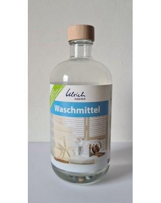 Vegan washing detergent in glas bottle